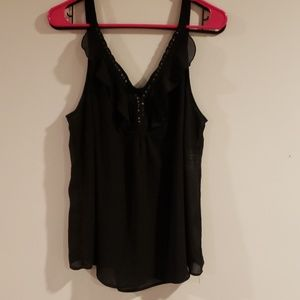 Avenue black sheer tank with sequins